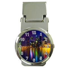 Night View Chrome Money Clip With Watch