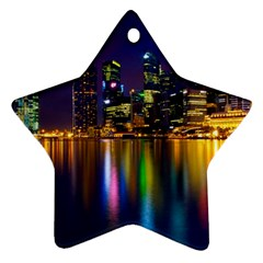 Night View Twin-sided Ceramic Ornament (Star)