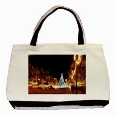 Christmas Deco Twin Sided Black Tote Bag