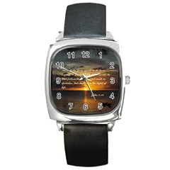 Sunset2 Black Leather Watch (Square)