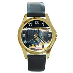 Waterfall Black Leather Gold Rim Watch (Round)