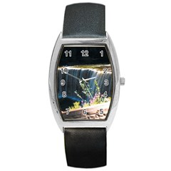 Waterfall Black Leather Watch (Tonneau)
