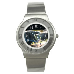 Waterfall Stainless Steel Watch (Round)