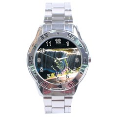 Waterfall Stainless Steel Analogue Watch (round)