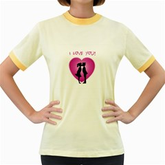 I Love You Kiss Colored Ringer Womens  T-shirt