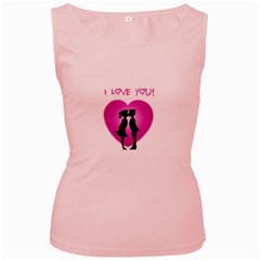I Love You Kiss Pink Womens  Tank Top