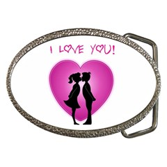 I Love You Kiss Belt Buckle (Oval)