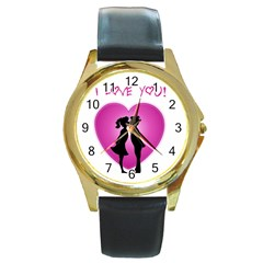 I Love You Kiss Black Leather Gold Rim Watch (Round)