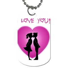 I Love You Kiss Single-sided Dog Tag