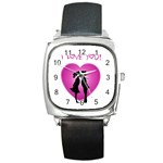 I Love You Kiss Black Leather Watch (Square) Front