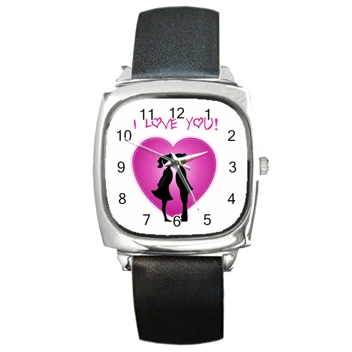 I Love You Kiss Black Leather Watch (Square)