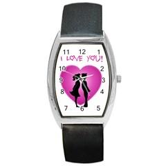 I Love You Kiss Black Leather Watch (tonneau)
