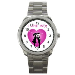 I Love You Kiss Stainless Steel Sports Watch (round)