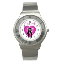 I Love You Kiss Stainless Steel Watch (Round)