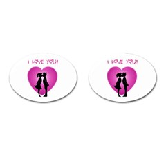I Love You Kiss Oval Cuff Links