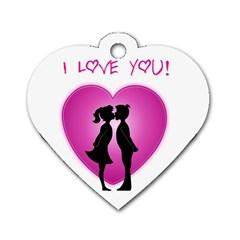 I Love You Kiss Single Sided Dog Tag (heart)
