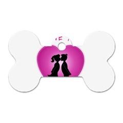 I Love You Kiss Single-sided Dog Tag (Bone)