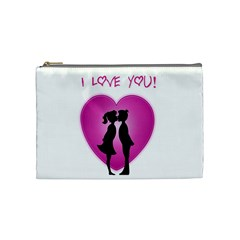 I Love You Kiss Cosmetic Bag (medium)