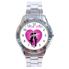 I Love You Kiss Stainless Steel Analogue Watch (Round)