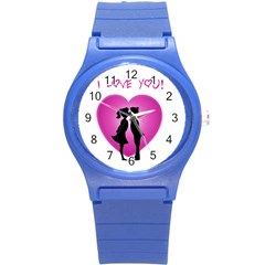 I Love You Kiss Round Plastic Sport Watch Small