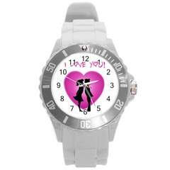 I Love You Kiss Round Plastic Sport Watch Large
