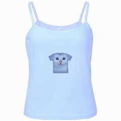 Cute Cat Baby Blue Spaghetti Top