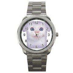 cute cat Stainless Steel Sports Watch (Round)