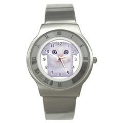 cute cat Stainless Steel Watch (Round)