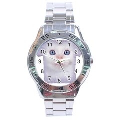 Cute Cat Stainless Steel Analogue Watch (round)