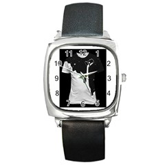 Milky Black Leather Watch (Square)
