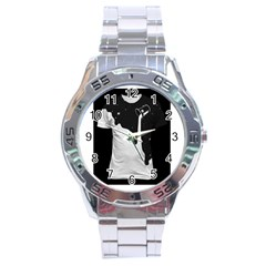 Milky Stainless Steel Analogue Watch (Round)