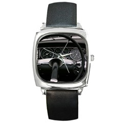 1969_ds_21_cabriolet_usine_24_sb Black Leather Watch (Square)