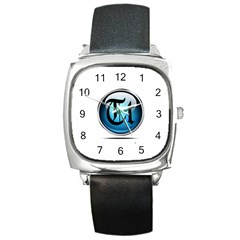 Small Logo Of Trickytricks Square Leather Watch