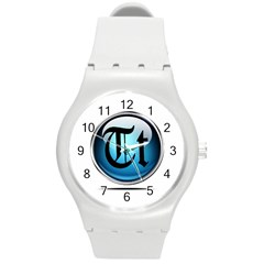 Small Logo Of Trickytricks Round Plastic Sport Watch Medium