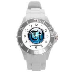 Small Logo Of Trickytricks Round Plastic Sport Watch Large