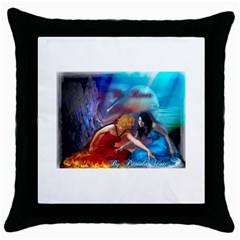 As The River Rises Black Throw Pillow Case