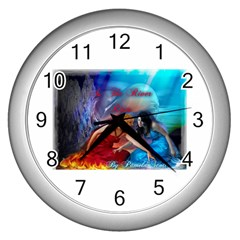 As The River Rises Wall Clock (Silver)