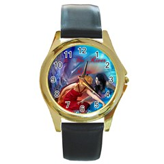 As The River Rises Round Metal Watch (Gold Rim)