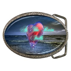 As The Rain Falls Belt Buckle (oval)