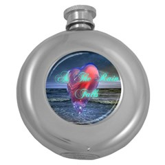 As The Rain Falls Hip Flask (Round)