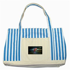 As The Rain Falls Blue Striped Tote Bag