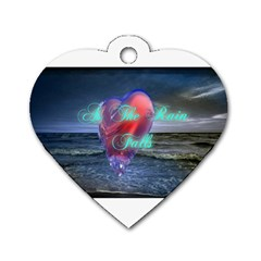 As The Rain Falls Dog Tag Heart (Two Sided)
