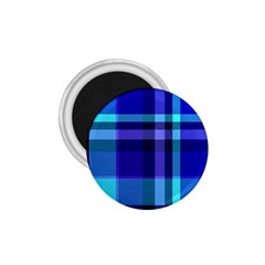 Blue Plaid 1 75  Button Magnet