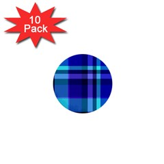 Blue Plaid 1  Mini Button (10 pack)