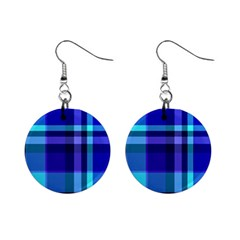 Blue Plaid Mini Button Earrings
