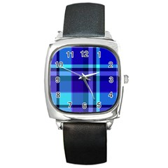Blue Plaid Square Leather Watch