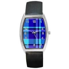 Blue Plaid Tonneau Leather Watch