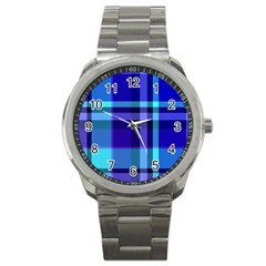 Blue Plaid Sport Metal Watch