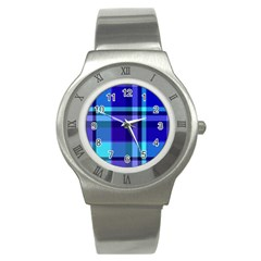 Blue Plaid Stainless Steel Watch (Unisex)