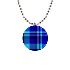 Blue Plaid Button Necklace
